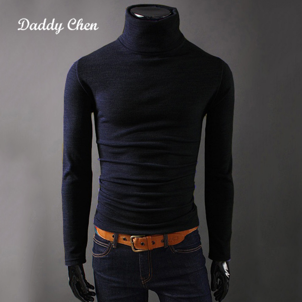 Daddy Chen autumn men t shirt spring casual mens winter pullover sweater turtleneck male T-Shirt Black Gray M-2XL 2018 new