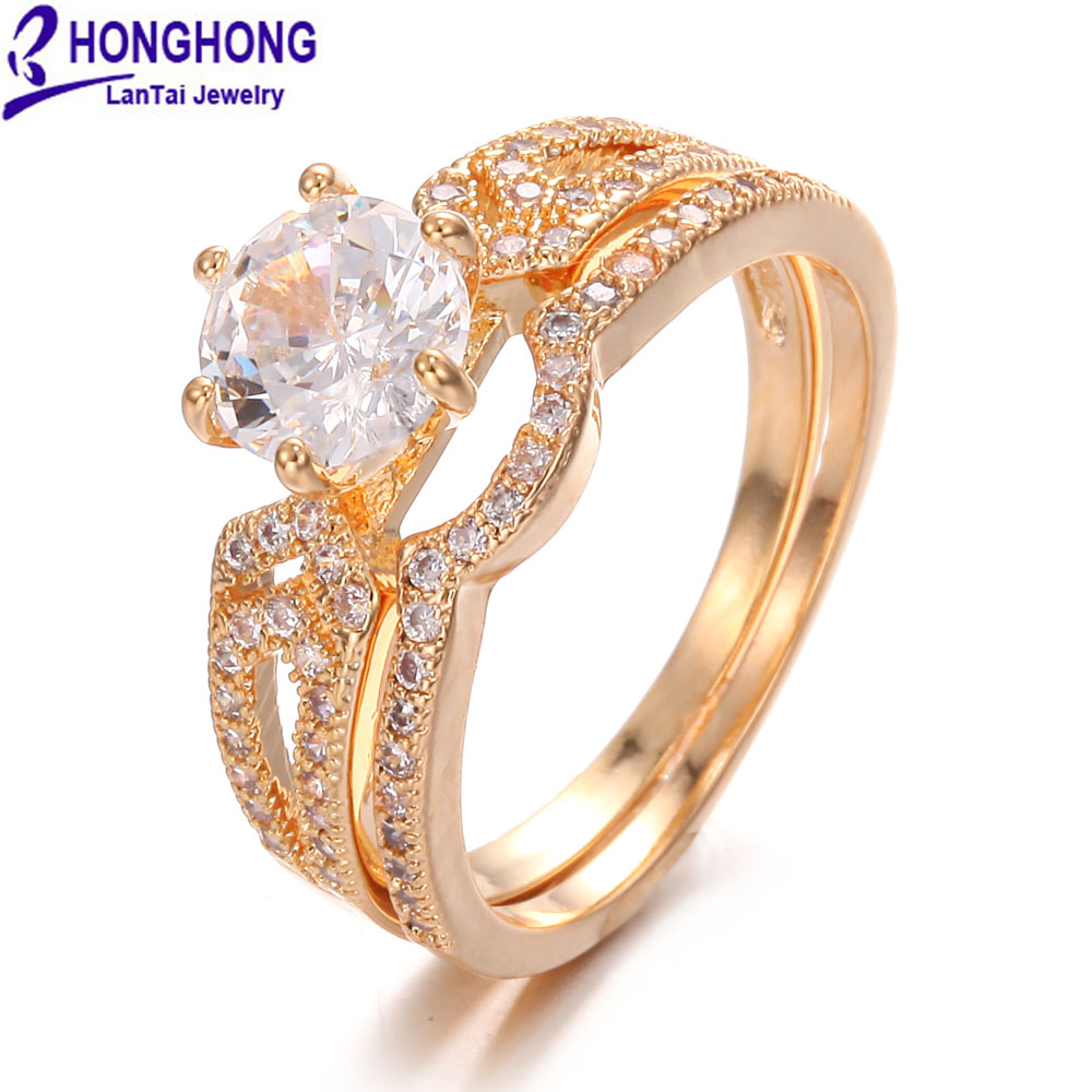 HONGHONG 2018 High Quality Cubic Zirconia Double Rings For Women Popular Double Romantic Rings Jewelry The Gift For Ladies&Gril