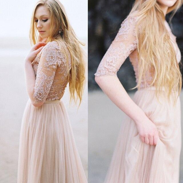 2016 Vintage See Through Lace Beach Blush Wedding Dresses Long ...