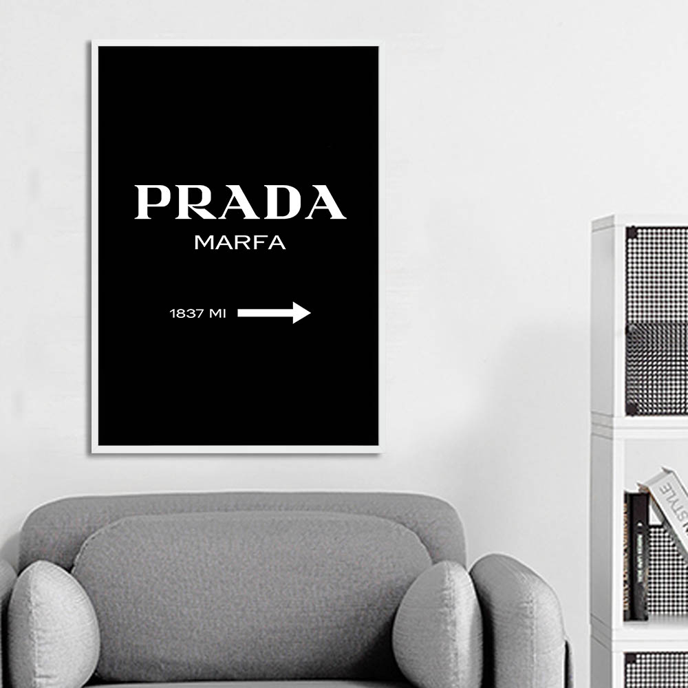 PRADA Wall Art Canvas Painting Nordic Style Fashion Posters and Prints Black White Decorative Picture Modern Home Decoration