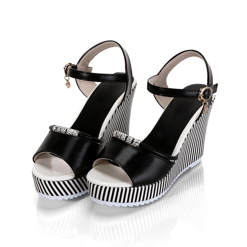 E TOY WORD Women Sandals Platform Wedges For Female Shoes Rhinestone Stripe Fish Mouth Waterproof Platform High Heels