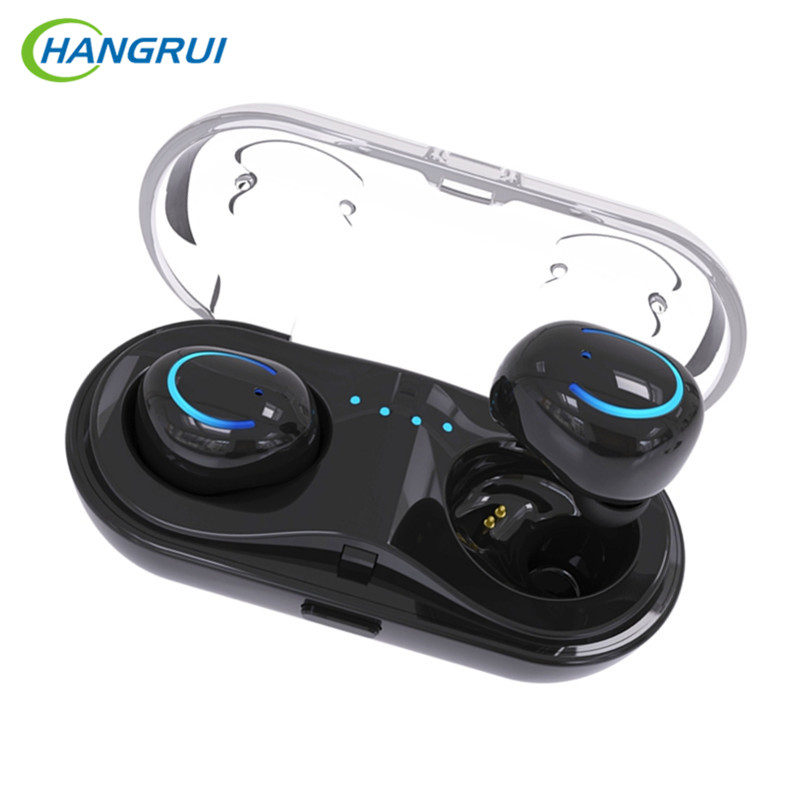 HANGRUI Mini Twins TWS Q18 Bluetooth Earphone Wireless headphones HIFI Bass headset with mic mini Charging Box Earbuds for phone azexi air66 wireless bluetooth headphones sport earbuds tws earphone with microphone charging box subwoofer for mobile phone