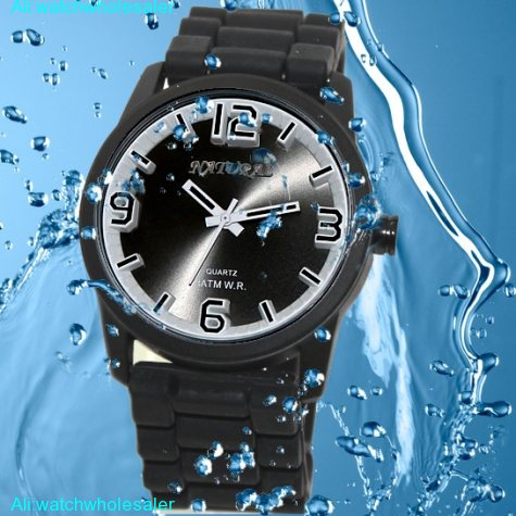 FW848A Water Resist Silicone Black Band Men Women 100% Tested 3ATM Fashion Watch