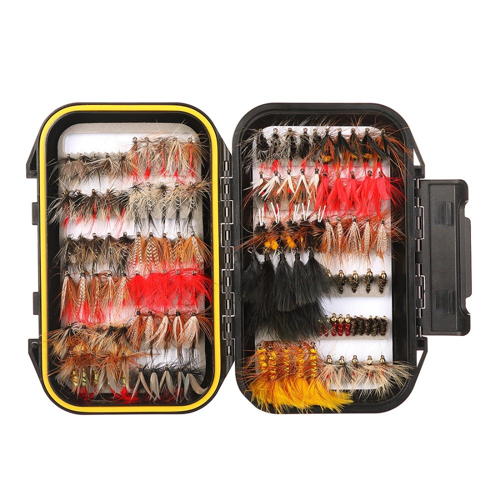 64/100/120pcs Fly Fishing Flies Trout Lures Dry/Wet Flies Nymphs Ice Fishing Lures Artificial Bait with Waterproof Pesca Box 10pcs beadhead pm caddis 14 nymphs dry fly fishing trout flies