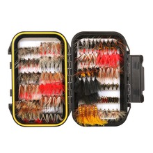 64/100/120pcs Fly Fishing Flies Trout Lures Dry/Wet Flies Nymphs Ice Fishing Lures Artificial Bait with Waterproof Pesca Box