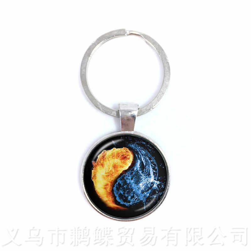 Yin Yang de Vidro Chaveiros Keyholder Simbolizando A Harmonia Natural Rústico Estilo Boho Das Mulheres Dos Homens de Jóias