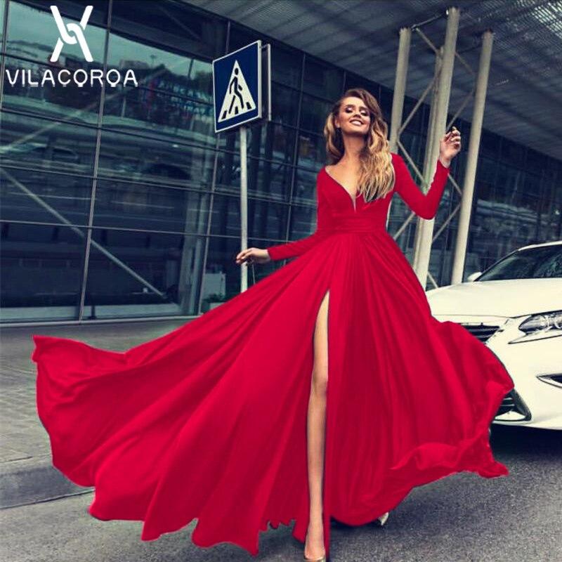 Rot Temperament V-ausschnitt Mit Langen Ärmeln Party Kleid Frauen Vestido High-Taille Lange Kleid Bodenlangen Maxi Kleid vestidos de fiesta