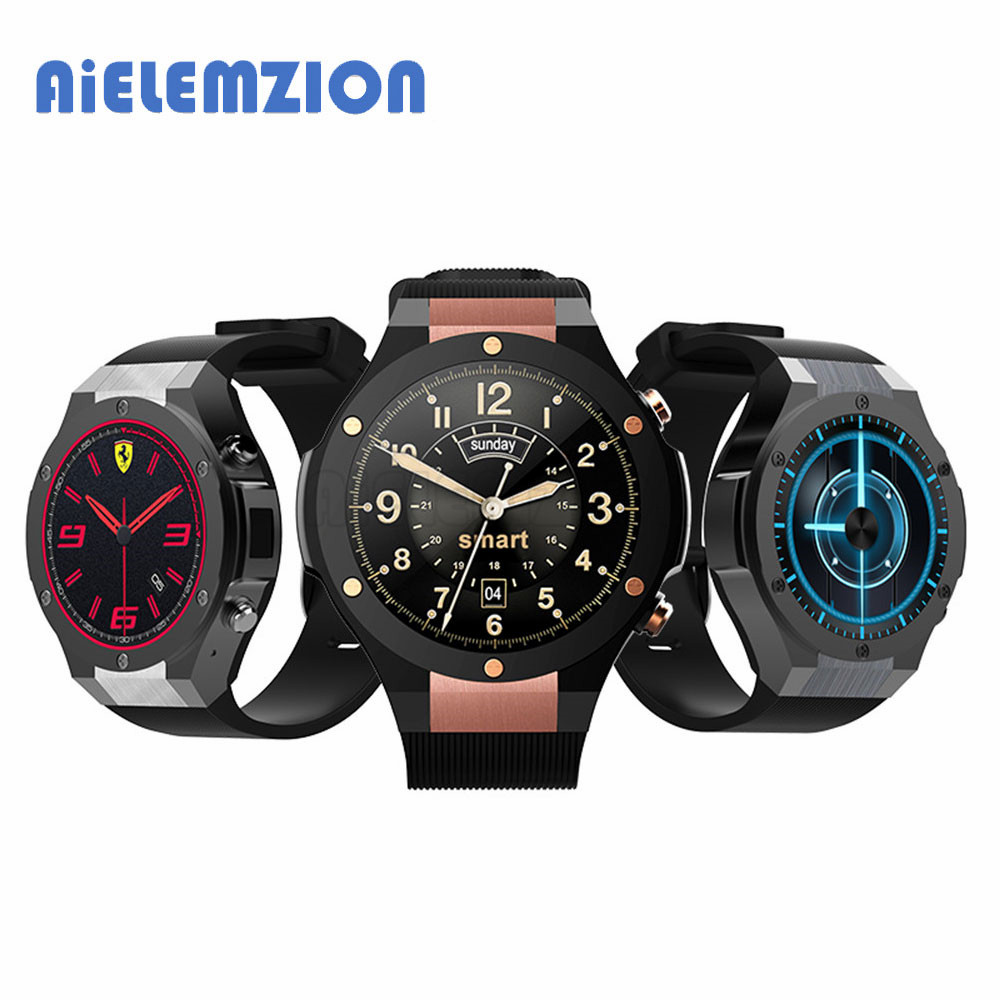 AiELEMZION H2 Bluetooth 3G Smart Watch with WI-Fi GPS 5MP Camera Heart Rate Monitor MTK6580 Quad-Core 1GB RAM 16GB ROM no 1 d6 1 63 inch 3g smartwatch phone android 5 1 mtk6580 quad core 1 3ghz 1gb ram gps wifi bluetooth 4 0 heart rate monitoring