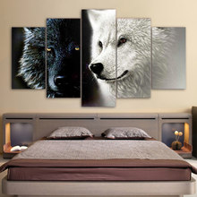 Poster HD Printed Home Decor Living Room Modular 5 Panel Black White Wolf Couple Framework Wall Art Painting Canvas Pictures(China)