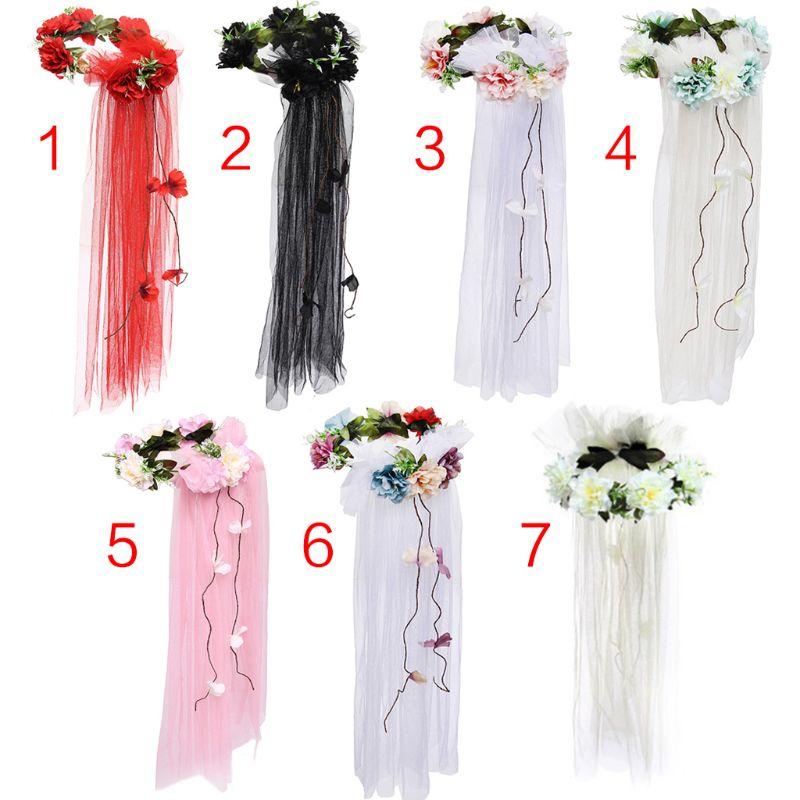 Womens Bridal Headwear Garland Tulle Veil Seaside Holiday Rainbow Artificial Flowers Crown Long Vine Ribbon Hair Wreath