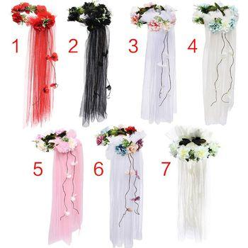 Womens Bridal Headwear Garland Tulle Veil Seaside Holiday Rainbow Artificial Flowers Crown Long Vine Ribbon Hair Wreath Bridal Headwear