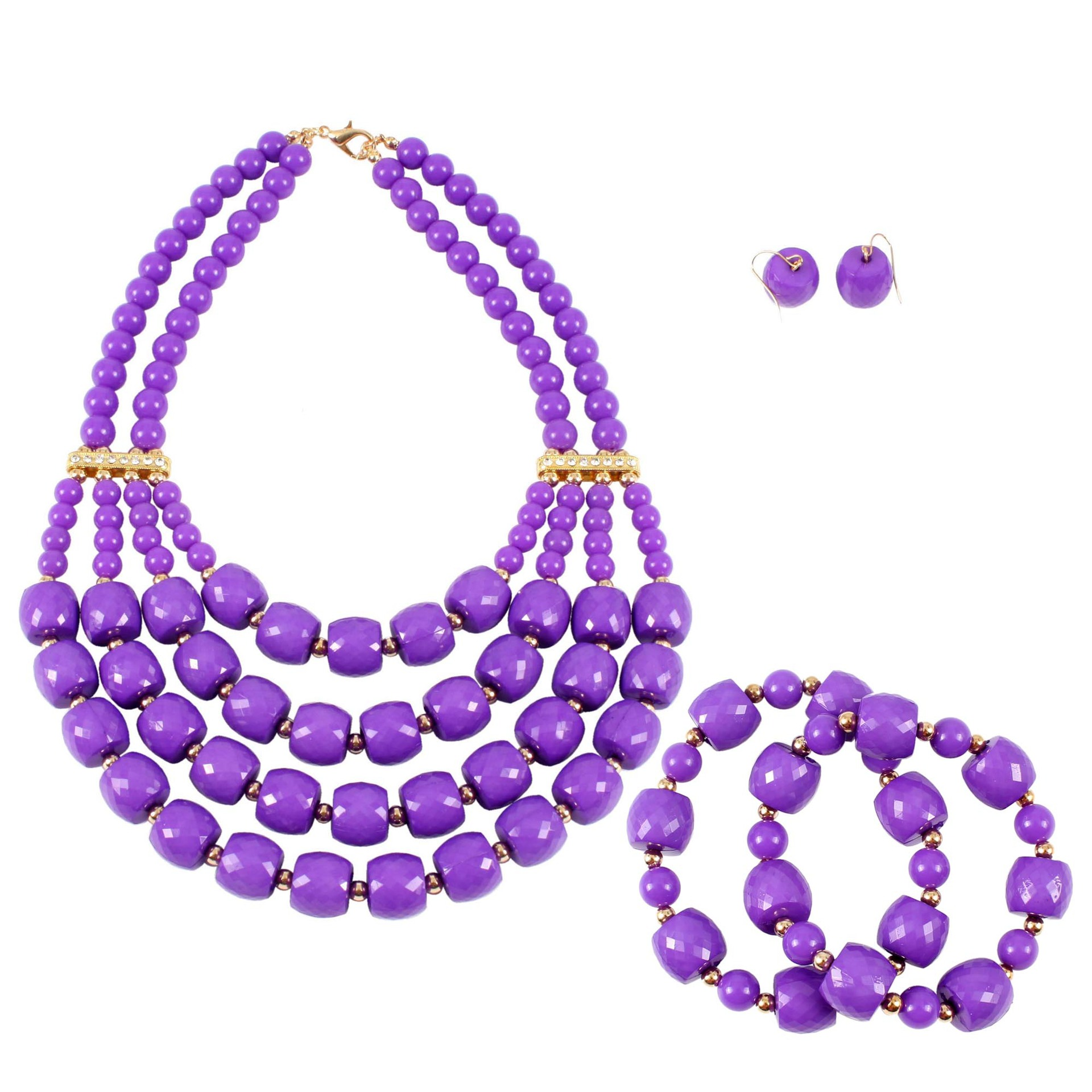 Wholesale 5 Set Bohemian Layered Geometric Strand 3 Pcs Jewelry Sets African Beads Bridal Crystal Necklace Set Bracelet Earrings bohemian beads necklace and earrings