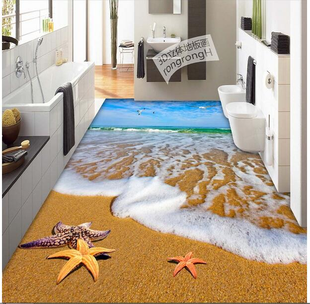 3d flooring waterproof wall paper pvc floor bedroom custom mural photo The sea beach sticker painting wallpaper for walls 3d custom baby wallpaper snow white and the seven dwarfs bedroom for the children s room mural backdrop stereoscopic 3d