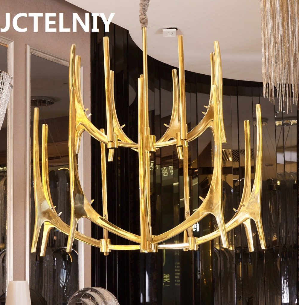 Sparkling luxury gold antlers chandeliers LED dendrites copper