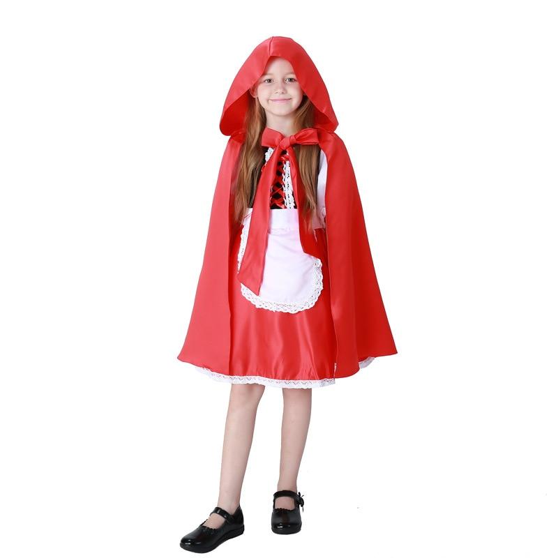 2017 New Children Girls Little Red Riding Hood Cute Dress+Big Cloak+Apron Maid Dress Costume Halloween Cosplay Costume Clothing halloween cosplay costume children little napoleon long acting costume