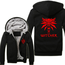 2015 Game The Witcher 3: Wild Hunt Wolf Head Hoodies Super Warm Fleece Winter Zip up Printing Coats Sweatshirts