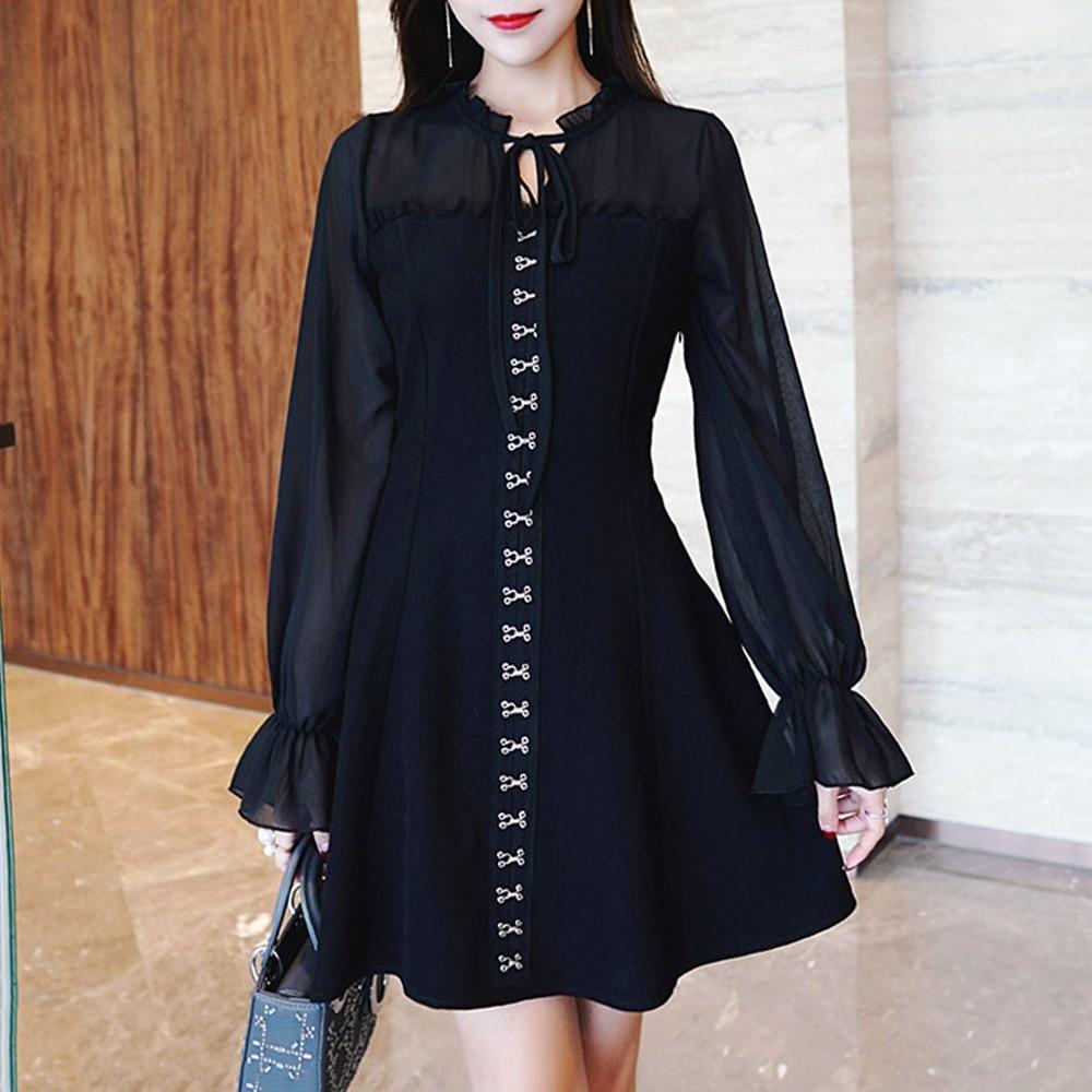 Women Fashion Black Vintage Elegant Office Lady Date Night Dresses 2019 Autumn A-Line Lace-Up Girls Cool Plain Female Dress a-line