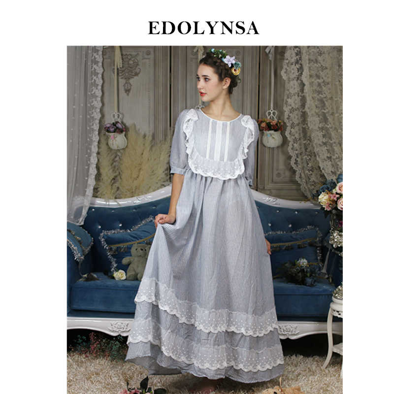 47a1380b8ff Victorian Nightgown Women Sleepwear Robe Vintage Ruffle Dress Pink Princess Nightdress  Plus Size Nightwear Cotton Homewear