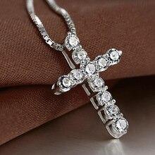 Hot Female Necklace Cross Crystal Pendant Necklaces Shiny Zircon Choker Fashion Jewelry Silver Trendy Necklace Elegant Jewelry elegant crystal zircon pendant necklace silver white red