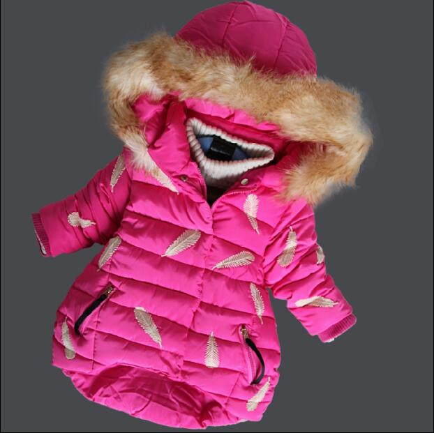 2017 Kids girls Fur Hooded Feather Print Baby Winter Coat Long Girls Winter Jacket For Girls Cotton-Padded Parkas Down блуза alice olivia alice olivia al054ewyzd40