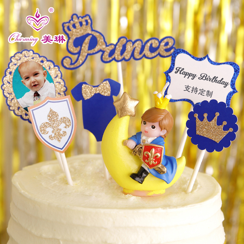 Birthday candles children creative cake decoration little prince baby boy boys party decorations