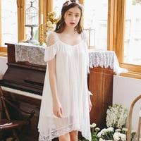 2019 Summer Nightgowns Princess Nightdress Royal Pijama Ladies Sleepwear Vintage White Pink Women Short Sleeve Nightwear