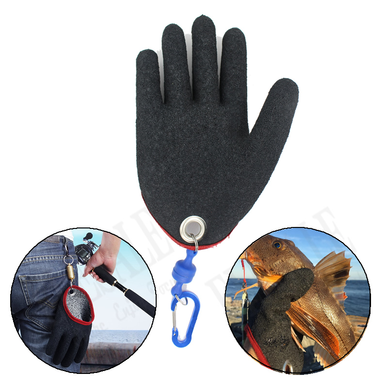 1 Pcs Outdoor Portable Fishing Gloves With Magnets Hook For Fisherman Catching Fishing Anti-Slip Cut-resistance Gloves Gray
