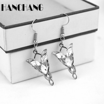 Vintage Silver plated Arwen Evenstar Earrings for Women crystal Ear Dorp Aragorn movies fashion jewelry image