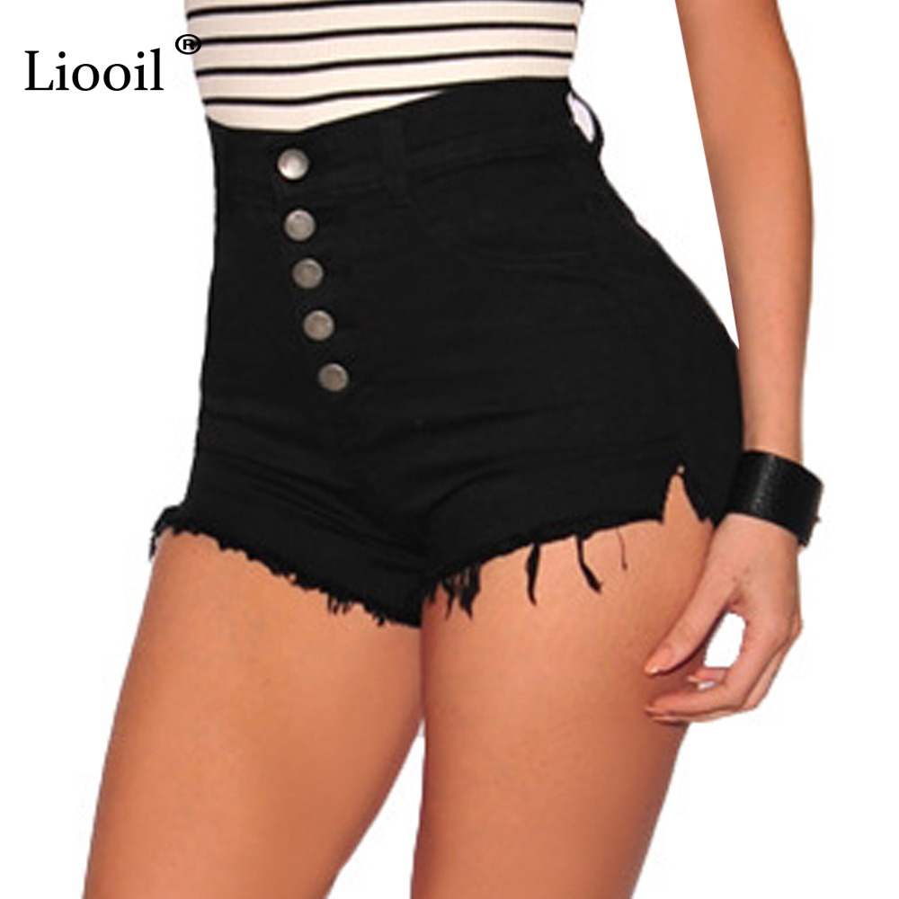 Liooil Black White Red Denim Shorts 2019 Cotton High Waisted Fashion Button Pockets Skinny Women Shorts Summer Sexy Jean Shorts