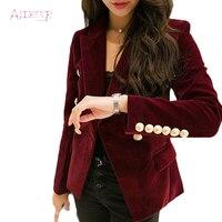 APOENGE 2019 Autumn Velvet Blazer Women Slim Long Sleeve Blazers Feminino OL Formal Work Small Suit Jacket Gold Button LZ658