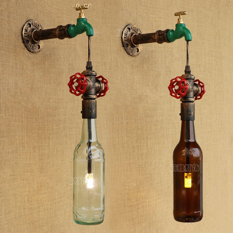 Glass Bottle Loft Industrial LED Wall lamp Vintage Creative Iron Wall Sconce For Bar Home Lighting Arandela Lamparas De Pared 60w style loft industrial vintage wall lamp fixtures home lighting edison wall sconce arandela lamparas de pared