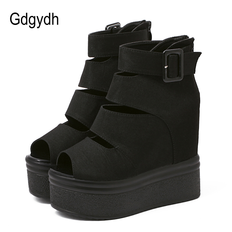 Gdgydh Flock Platform Women Boots Summer Fashion Autumn Ankle Boots For Women Rome Shoes Wedges Thick Heels Peep Toe Back Zipper 2016 new arrive summer boots fashion peep toe thick high heels women boots cut outs platform shoes woman ankle boots for women
