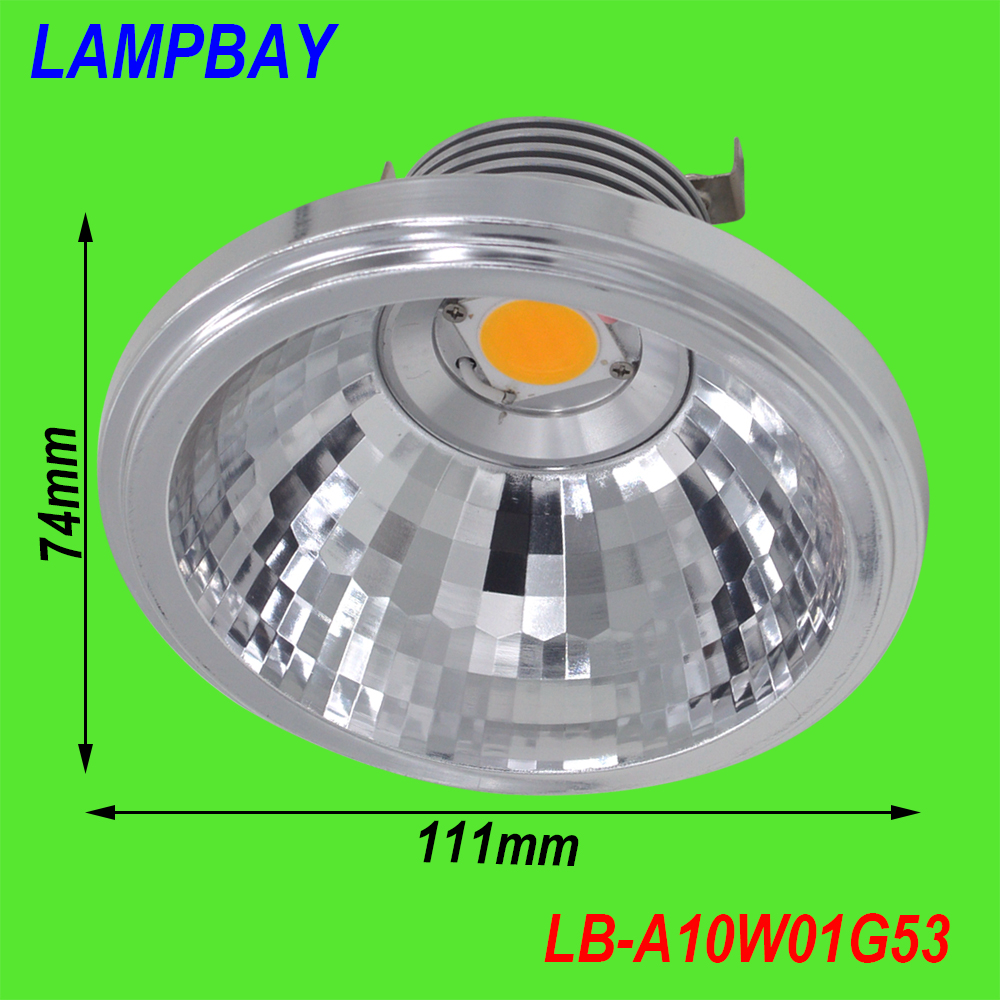 (20 iepakojumi) Bezmaksas piegāde LED AR111 COB 10W ar papildu vadītāja 85-265V lielu lūmenu nomaiņu uz 100W spuldzi QR111 Dimmable