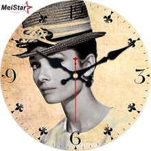 MEISTAR Fashion Wall Clock Figure Woman Design Silent Living Cafe Decor Wooden Watches Art Retro Clocks 15 inch