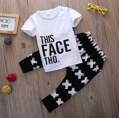 baby summer 2pcs Set 2016 baby boy Set toddlers kids short sleeve letter printed tops+cross long pants outfits kids baby boy long sleeve gentleman t shirt tops long pants 2pcs outfits clothing set hot