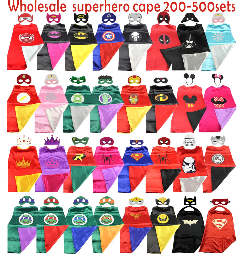 Free DHL shipping Superhero Capes  200-500sets Superman, Batman, Spiderman,  Supergirl, Batgirl kids capes,children costume
