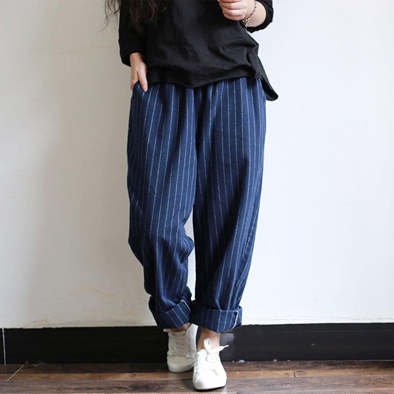 ZANZEA 2018 Casual Vintasge Women Work Long Harem Pants Elastic Waist Pockets Striped Loose Turnip Pantalon Wide Leg Trousers
