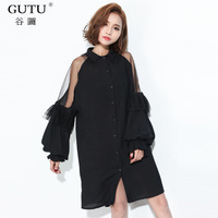 GUTU Autumn Korean Fashion New 2017 Black Stitching Lace Pespection Lantern Sleeve Loose Turn Down
