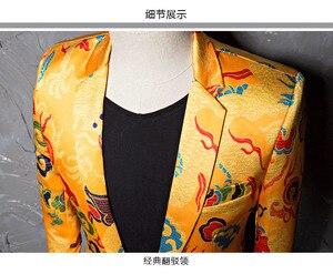 Image 3 - PYJTRL Brand Tide Mens Chinese Style Dragon Pattern Digital Print Suit Jacket Wedding Party Nightclub Stage Blazer