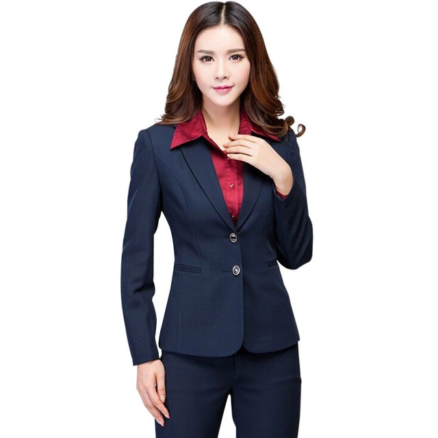 Work wear women pants suit autumn winter long sleeve Two buttons blazer with Trousers Office ladies formal suits Navy black