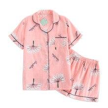 Pijamas cortos simples japoneses para mujer 100% de algodón de manga corta pijama para mujer Pantalones cortos de dibujos animados bonitos ropa de dormir para mujer ropa de casa