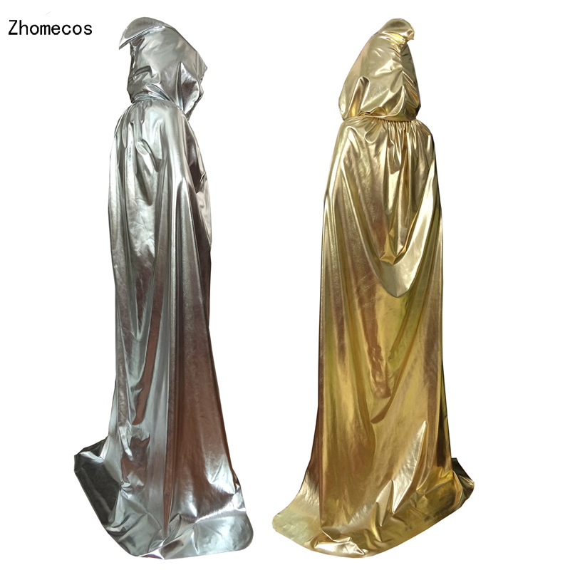 Adult Sliver Gold Hooded Cloak Costume For Men Women Carnival Halloween Fancy Dress Party Cape Cosplay Size S -XL