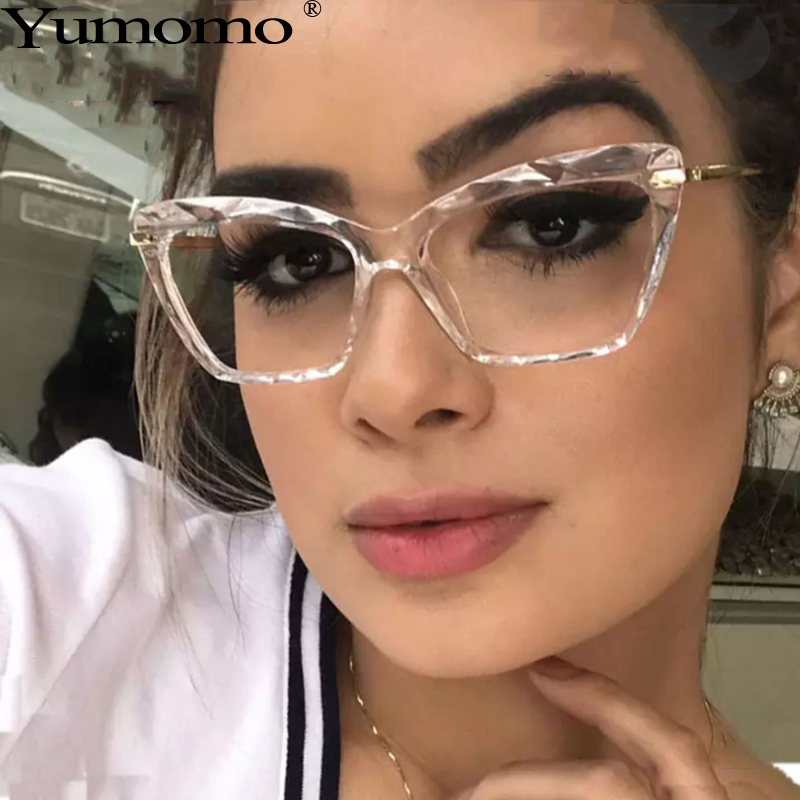 Transparent Round Glasses Frame Women 2019 New Trendy Sexy Faceted Crystal Leopard Metal Mirror UV400 Shades Ladies Glasses