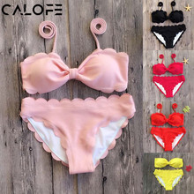 2018 Sexy Halter Bikini Set Women Push Up Swimwear Floral Lace up Bikini Swimsuit biquinis Bathing Swim Suit maillot de bain