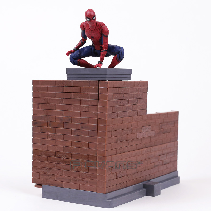 SHFiguarts Spider Man Homecoming  Tamarshii Option Act Wall PVC Action Figure Collectible Model Toy 14cm shf s h figuarts spiderman homecoming tamarshii option act wall pvc action figure collectible model toy 14cm