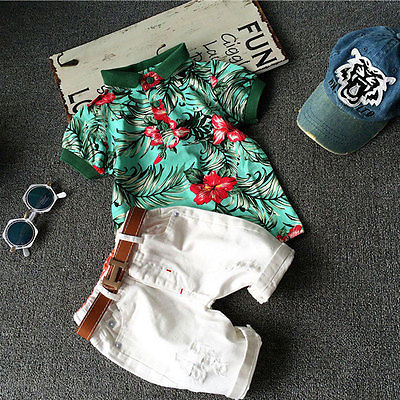 T-Shirt Clothing-Set Outfits Shorts Flower Toddler White Baby-Boy Kids 2pcs Collar Holes title=