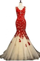 2019 Sexy Mermaid Evening Dress Scoop Organza Applique Pleats Lace Beads Hollow Sweep Train Red Prom Dresses