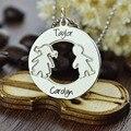 Comercio al por mayor Personalizada Nombre Collar placa de Identificación de Plata Grabado Collar de Niños de Madres Madre Niños Joyería