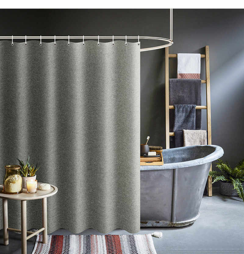 Nordic Linen Hotel Shower Curtain Partition Curtain Set Free From Punching Waterproof Mildew Thickening High-end Curtain