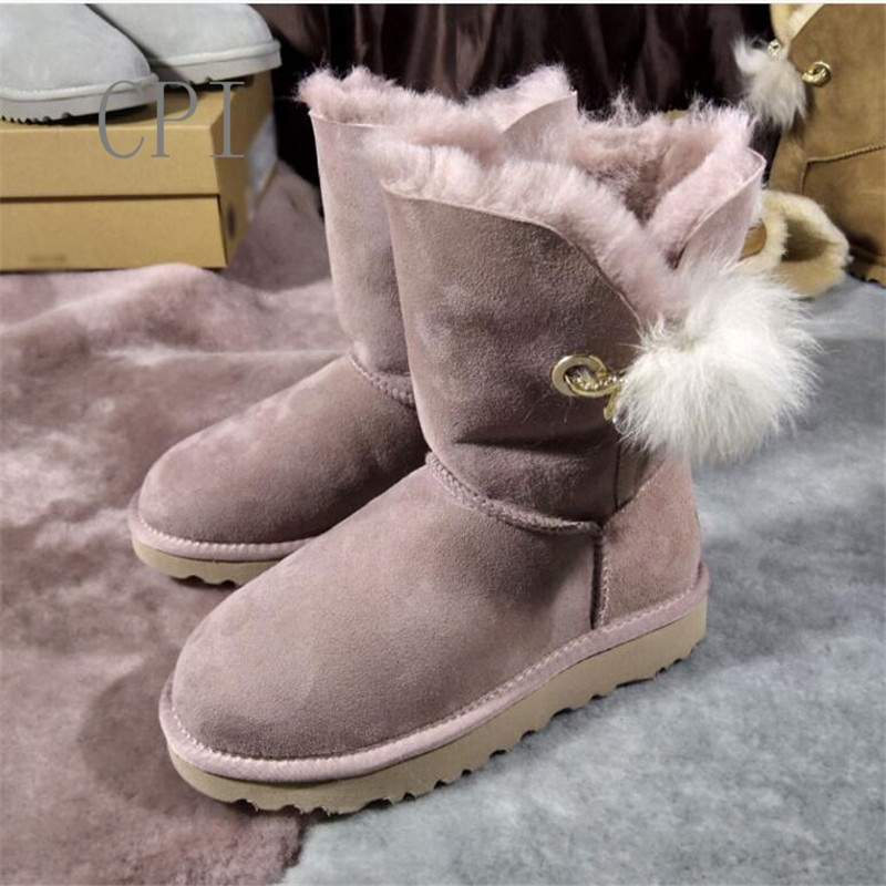 Brand 2018 Winter Shoes Woman Genuine Sheep Leather Snow Boots Women Warm Fur Ankle Boots For Women Plush Ball Flat Boots snow boots women thick fur warm short plush winter shoes 2017 ankle boots for rubber for women